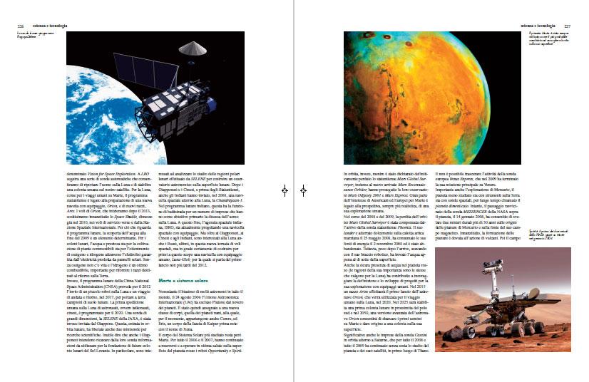 Le pagine dedicate all'esplorazione di Marte sul volume Il Primo Decennio del Terzo Millennio