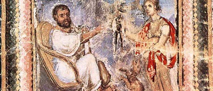 Heuresis, personificazione della scoperta, porge una mandragora a Dioscoride, Codex Aniciae Iulianae, prima del 512, Vienna, Österreichische Nationalbibliothek