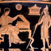 Elena e Paride su un cratere rinvenuto a Taranto e conservato al Louvre di Parigi