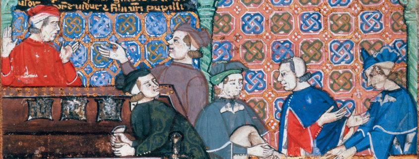 Un'illustrazione dal Trattato sui dazi (fine XIV secolo), conservato alla British Library di Londra