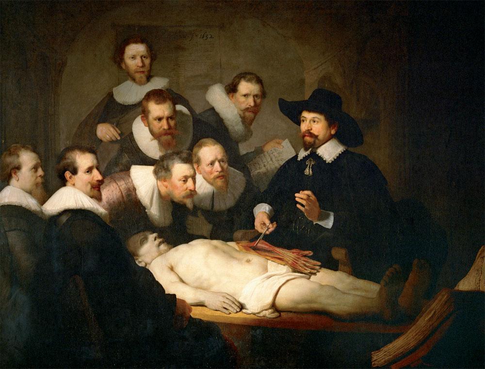 La lezione di Anatomia del dottor Tulp di Rembrandt Harmenszoon van Rijn, 1632